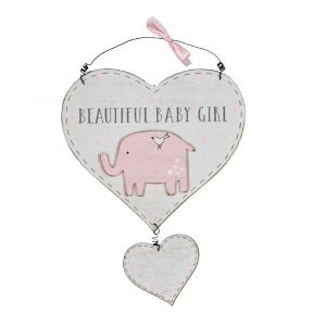 GORGEOUS BABY GIRL HEART PLAQUE