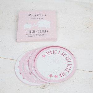 PETIT CHERI 24 MILESTONES CARDS - PINK