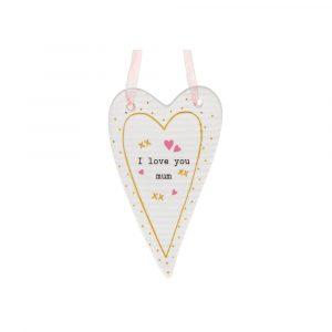 I love you mum heart plaque