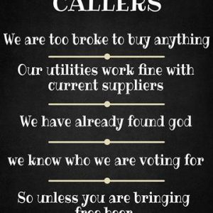 Metal Sign, No Callers, unsolicited callers
