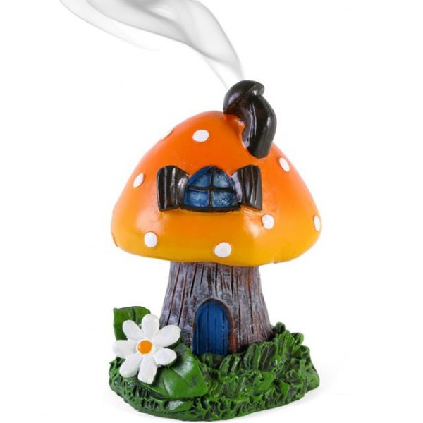 Orange Smoking toadstool incense cone holder