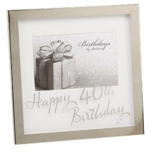 Silver Plated Happy 40th Birthday photo frame