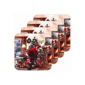 Christmas Santa Coasters set of 4