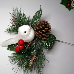 Dove and Berry Decorative Christmas Pick