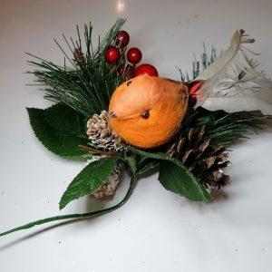 Robin Decorative Christmas Pick
