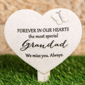 Forever In Our Hearts Grandad Heart Spike Plaque