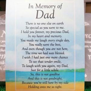 In Memory Of Dad Graveside Memorial Poem Card