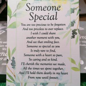Someone Special Graveside Memorial Poem Card