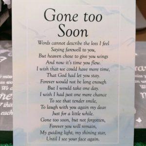 Gone Too Soon Graveside Memorial Poem Card