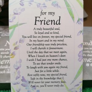 For My Friend Graveside Memorial Poem Card