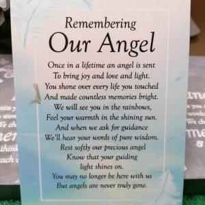Remembering Our Angel Graveside Memorial Poem Card