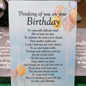 Thinking Of You On Your Birthday Graveside Memorial Poem Card