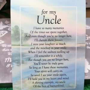 For My Uncle Memorial Poem Card
