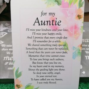 For My Auntie Memorial Poem Card