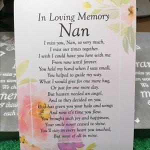 In Loving Memory Nan Memorial Poem Card