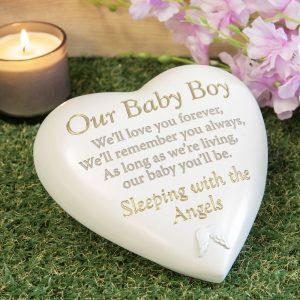 Graveside Plaque Baby Boy – Memorial Heart