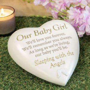 Graveside Plaque Baby Girl – Memorial Heart