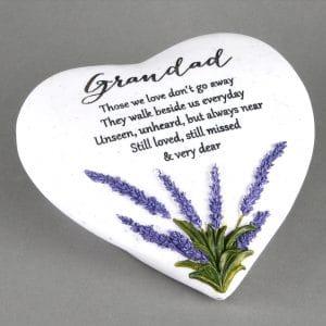 Grandad Lavender Heart Memorial Plaque