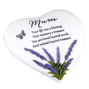 Mum Lavender Heart Memorial Plaque