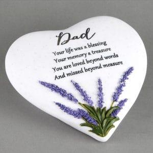 Dad Memorial Lavender Heart Stone