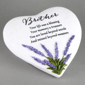 Brother Memorial Lavender Heart Stone