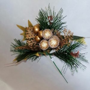 Frosted Gold Berries Dexorative Christmas Pick