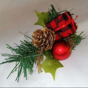 Tartan Parcel and Red Christmas Decorative Pick